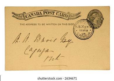 Canadian Post Card with Imprinted One Cent Queen Victoria Stamp, Dated 1894.