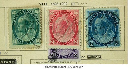 Canadian postage stamps with Queen Victoria. The brands are from 1898-1902