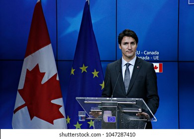 Canadian Prime Minister Justin Trudeau gives a press conference about the CETA trade deal during the EU-Canada summit meeting at the EU headquarters in Brussels, on Oct. 30, 2016