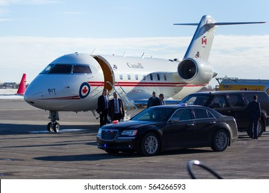 Canadian Prime Minister Justin Trudeau arrives at Calgary International Airport as part of his cross country tour on January 25, 2017