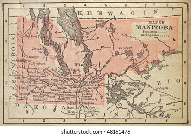 Canadian Province of Manitoba, circa 1880. See the entire map collection: http://www.shutterstock.com/sets/22217-maps.html?rid=70583