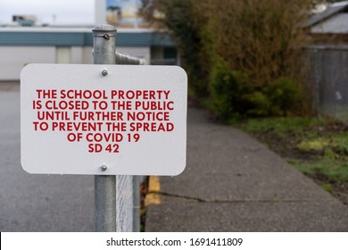 Canadian public warnings posted at school playgrounds during Covid-19 lockdown in  Maple Ridge, British Columbia on April 1st 2020