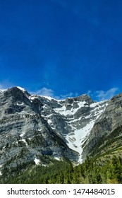 Canadian Rockies with blue sky