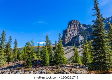 Canadian Rockies, Province of Alberta. Picturesque stony shore and coniferous forests around Lake Moraine. The concept of ecological, photographic and active tourism