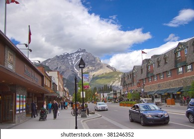 Canadian Rocky Mountains, Banff, Canada - July 2012: Busy street of city of Banff. Banff is a famous resort in Canada
