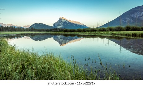 Canadian Rocky mountains lake reflection at Banff National Park, Canada, Alberta