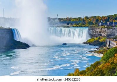 Canadian side of Niagara Falls in autumn