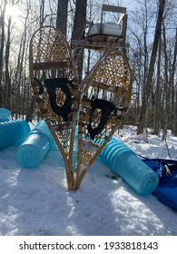 Canadian Spring. It's maple syrup making season. The snow is so deep in the Forest that snowshoes are needed to travel to the syrup buckets on the trees.