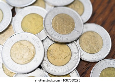 Canadian Two Dollar Coins background