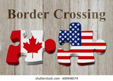 Canadians crossing the American border, Two puzzle pieces with the flags of USA and Canada on weathered wood with text Border Crossing 3D Illustration