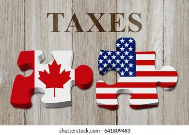 Canadians paying American taxes, Two puzzle pieces with the flags of USA and Canada on weathered wood with text Taxes 3D Illustration