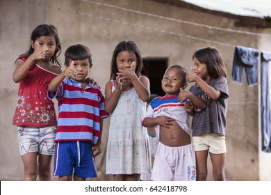 CANAIMA,VENEZUELA-NOV 27:Unidentified children in village showed smiles to the relief team on November 27 2010 in Canaima, Venezuela.People suffers from food shortages due to unstable currency policy.