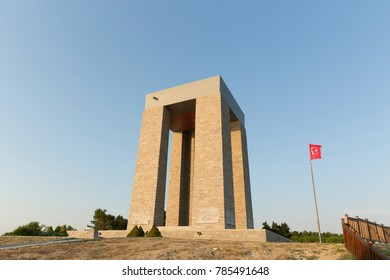 Canakkale Martyrs' Memorial against to Dardanelles Strait. Turkish soldiers who participated at the Battle of Gallipoli, which took place from April 1915 to December 1915 during the First World War.