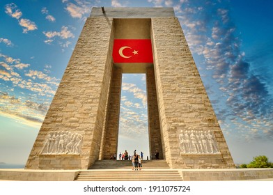 canakkale Turkey 14 07 2012 : (Dardanelles) martyrs memorial monument in Gallipoli  Turkey