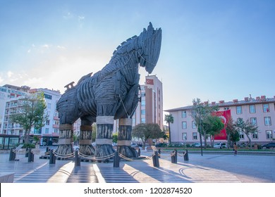 """Canakkale, Turkey - 19 Sept, 2018: Trojan Horse at Canakkale waterfront. The wooden horse was used in the movie """"Troy"""" shoot in 2004."""