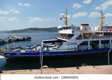 CANAKKALE, TURKEY - APR 21, 2019 -Ferry across the Dardanelles to Gallipoli from in the central market of Canakkale, Turkey