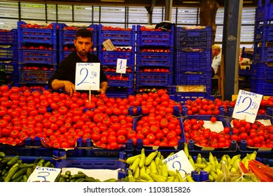 CANAKKALE, TURKEY - APR 29, 2018 - Tomatoes and other vegetables in central market of Canakkale, Turkey