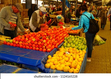 CANAKKALE, TURKEY - APR 29, 2018 - Buying fruit and vegetables in central market of Canakkale, Turkey