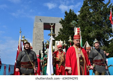 CANAKKALE, TURKEY - APRIL 24, 2017: Members of Ottoman Mehter band march during an international service marking the 102nd anniversary of the WWI battle of Gallipoli at the Turkish memorial