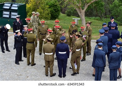 CANAKKALE, TURKEY - APRIL 30, 2017: Australian and New Zealand soldiers march during a 102nd anniversary of the WWI battle of Gallipoli at the Turkish memorial in the Gallipoli peninsula in Canakkale