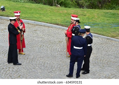 CANAKKALE, TURKEY - APRIL 30, 2017: Anzac soldiers pose with members of Ottoman Mehter band during an international service marking the 102nd anniversary of the WWI battle of Gallipoli