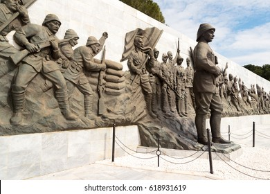 Canakkale, Turkey - April 8, 2017: Relief works in Canakkale martyr memorial.The Canakkale Martyrs' Memorial is a war memorial commemorating the service of about  253,000 Turkish soldiers