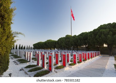 CANAKKALE ,TURKEY - AUGUST 04, 2017: Canakkale Martyrs Memorial military cemetery is a war memorial commemorating the service of about Turkish soldiers who participated at the Battle of Gallipoli.