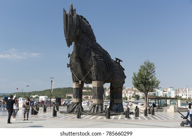 CANAKKALE, TURKEY - AUGUST 04, 2017: Trojan Horse view in Canakkale.  After Wolfgang Petersen's 2004 movie Troy ,The wooden horse that was used as a prop was donated to the city.
