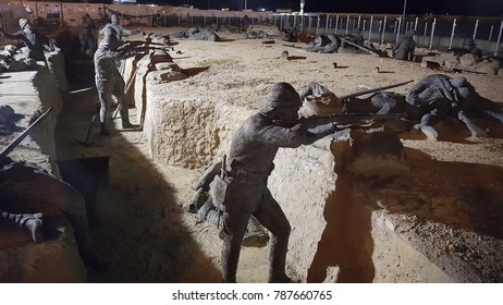 CANAKKALE, TURKEY, AUGUST 04, 2017: Statue in The Canakkale Martyrs Memorial is a war memorial commemorating the service of about Turkish soldiers who participated at the Battle of Gallipoli.