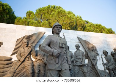 CANAKKALE, TURKEY, AUGUST 08, 2017: Ataturk Statue in The Canakkale Martyrs Memorial is a war memorial commemorating the service of about Turkish soldiers who participated at the Battle of Gallipoli.