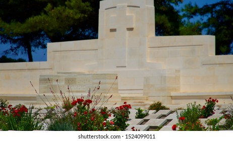 Canakkale , TURKEY - August 14, 2019: Graves and monuments of soldiers who died in 1915 Canakkale war