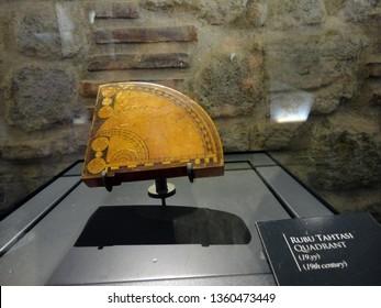 Canakkale, Turkey - August 2 2018: Historical rubu board (Quadrant) in Kilitbahir Kale Museum