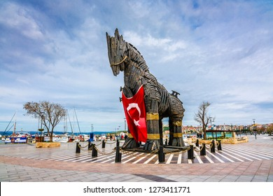 Canakkale, Turkey - February 12, 2016 : Wooden Horse view in Canakkale,Turkey.After the filming of the movie Troy,The wooden horse that was used as a prop was donated to the city of Canakkale