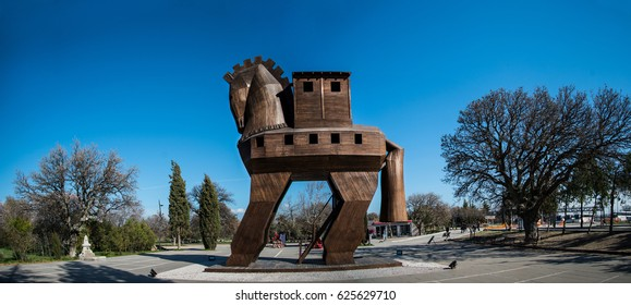 Canakkale, Turkey - February 20, 2014 : The Trojan Horse is a tale from the Trojan War about the subterfuge that the Greeks used to enter the city of Troy and win the war.