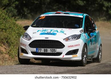 CANAKKALE, TURKEY - JULY 01, 2017: Ozcan Soke drives Ford Fiesta R2T of Ford Motorsport Turkey Team in Rally Troia