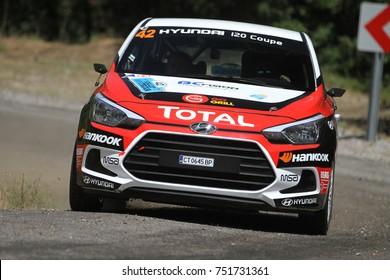 CANAKKALE, TURKEY - JULY 01, 2017: Toprak Candan drives Hyundai I20 Coupe in Rally Troia