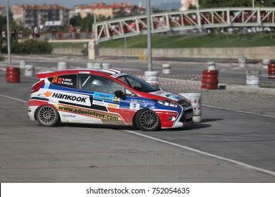 CANAKKALE, TURKEY - JULY 01, 2017: Burak Baslik drives Ford Fiesta R2 of Ford Motorsport Turkey Team in Rally Troia