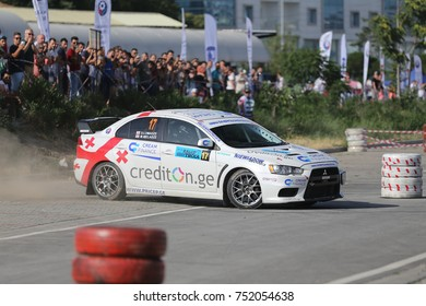 CANAKKALE, TURKEY - JULY 01, 2017: Alexander Lomadze drives Mitsubishi Lancer Evo X of MS Racing Team in Rally Troia