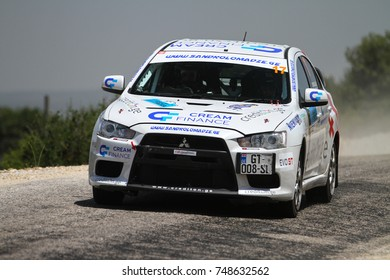 CANAKKALE, TURKEY - JULY 02, 2017: Alexander Lomadze drives Mitsubishi Lancer Evo X of MS Racing Team in Rally Troia
