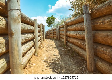 CANAKKALE, TURKEY, JULY 17, 2014: War Trenches of Gallipoli at Canakkale Martyr's Memorial grounds, Canakkale, Turkey
