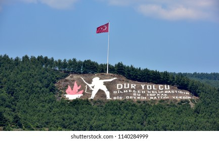 Canakkale, Turkey - July, 2018: Dur Yolcu memorial view from the sea