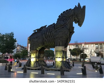 Canakkale, Turkey - JULY 2019 : Wooden Horse view in Canakkale, Turkey. After the filming of the movie Troy,The wooden horse that was used as a prop was donated to the city of Canakkale