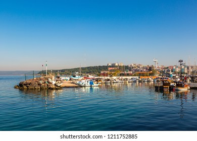 CANAKKALE, TURKEY - JULY 21, 2017: Harbour view in Canakkale in a beautiful summer day, Turkey.