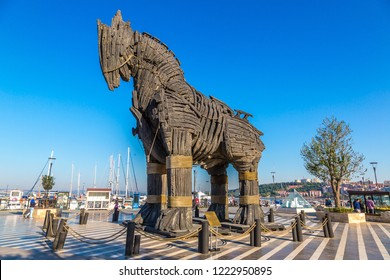 "CANAKKALE, TURKEY - JULY 21, 2017: Trojan horse in Canakkale in a beautiful summer day, Turkey. This horse was uesd in movie ""Troy"""