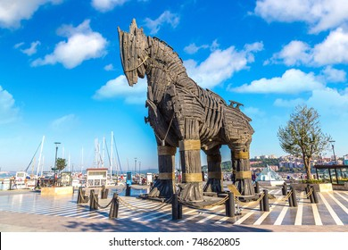 """CANAKKALE, TURKEY - JULY 21, 2017: Trojan horse in Canakkale in a beautiful summer day, Turkey. This horse was uesd in movie """"Troy"""""""