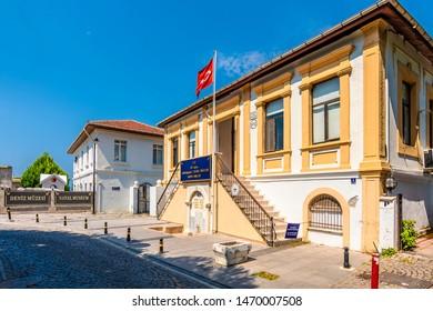 Canakkale, Turkey - July 30, 2019 : Canakkale Navy Museum garden view in Canakkale City of Turkey