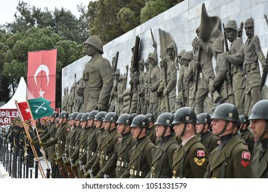CANAKKALE, TURKEY - MARCH 18, 2018: Turkish soldiers take part in an the 103nd anniversary of the battle of Gallipoli.