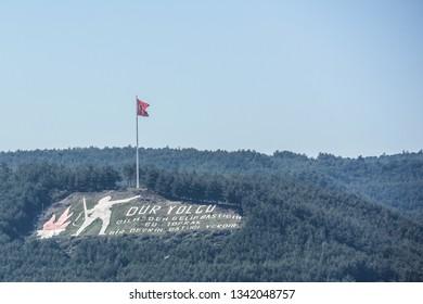 CANAKKALE, TURKEY - MARCH 18, 2019: Stop Passenger Monument (Dur Yolcu -Kilitbahir Village, Eceabat District, located on the Gallipoli