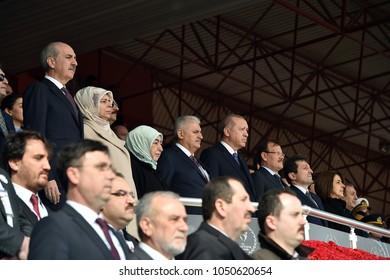 CANAKKALE, TURKEY - MARCH 18: President Recep Tayyip Erdogan attended the Gallipoli war ceremony on March 18, 2018 in Canakkale, Turkey