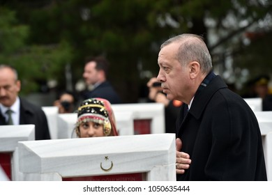 CANAKKALE, TURKEY - MARCH 18: President Recep Tayyip Erdogan attended the Gallipoli war ceremony on March 18, 2018 in Canakkale, Turkey